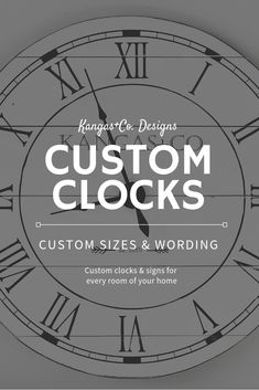 Kangas+Co. Diy Vinyl Projects, Woodworking Projects Diy, Farmhouse Clocks, Farmhouse Decor, Farmhouse Ideas, Co Design, Sign Design, Personalized Clocks, Big Wall Clocks