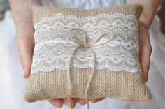 Burlap ring pillow with Ivory / Silver lace Burlap Ring Bearer Pillow by NatalysWeddingArt, $14.00