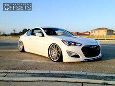 Wheel Offset 2013 Hyundai Genesis Coupe Slightly Aggressive Bagged Custom Rims