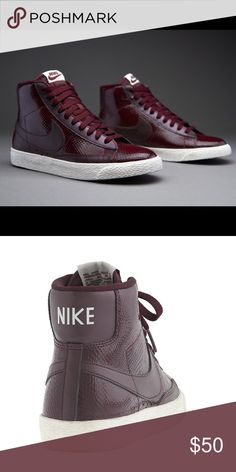 Nike Blazer Mid Premium High top Nike sneakers in Burgundy. Upper leather design and a very comfortable and trendy shoe! Size 7.5. NO TRADES PLEASE Nike Shoes Sneakers