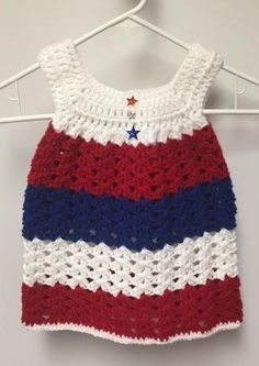 Size 6 to 9 Months Baby Girls Red, White and Blue Crocheted Dress #HandmadeCrocheted