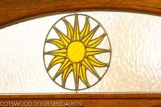 Timber Edwardian front door with a bespoke sun pattern in the stained glass Wood Front Doors, Bespoke Design, Painted Doors, Paint Finishes, Joinery, Free Design, Stained Glass, Pattern, Houses