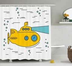 Amazon.com: Yellow Submarine Shower Curtain Set by Ambesonne, Ocean Nautical Adventure Underwater with Bubbles Porthole Cartoon Kids, Fabric Bathroom Decor with Hooks, 84 Inches Extra Long, White Yellow Blue: Home & Kitchen