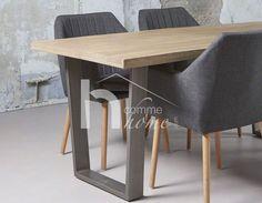 Table à manger industrielle en bois clair et acier ARISTOTE