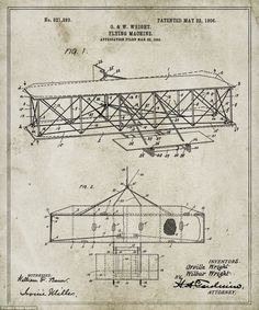 The ingenious structure of the Wright brothers' flying machine (pictured) was patented in 1906 by the two American aviation pioneers #patent #patentdrawing #flyingmachine #invention #airplane