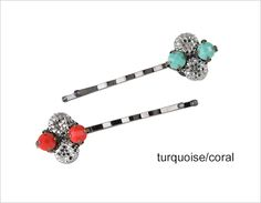 Quatrefoil Crystal Bobby Pin Set...a hint of color and sparkle for the mane!