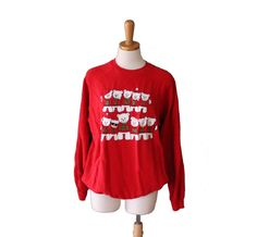 Vintage Ugly Christmas Sweater  Red by bluebutterflyvintage