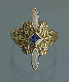 BELLE EPOQUE Floral Ring Gold Opal Sapphire Diamond, French, c. 1905