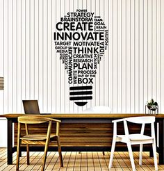 Vinyl Wall Decal Lightbulb Inspire Words Business Office Art Decor Stickers Mural Large Decor Black photo ideas from NEO Home Decor Office Wall Graphics, Office Wall Decals, Office Mural, Office Artwork, Office Walls, Vinyl Wall Decals, Vinyl Art, Office Wall Design, Office Interior Design
