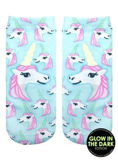 Pastel Unicorn Socks-Glow in the Dark!!