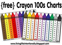 Free Crayon Colors and 100s Chart from 123 Homeschool 4 Me