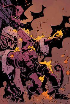 The Wild Hunt - Mike Mignola & Duncan Fedredo Mike Mignola Art, Comic Book Artists, Comic Artist, Dracula, Hellboy Wallpaper, Illustrations, Illustration Art, Hellboy Tattoo, Character Art