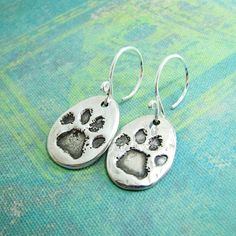 Silver Pawprint Earrings Artisan Fine and Sterling by SilverWishes