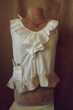 Lagenlook White Cotton Linen Vintage Lace Upcycled Ruffled Blouse Size S-M