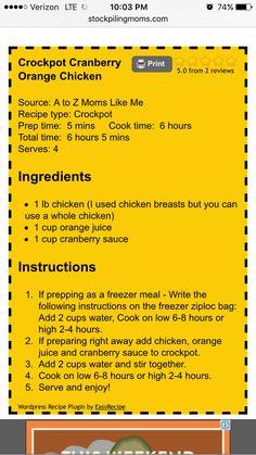 Orange Cranberry Chicken Crock Pot Food, Crock Pot Freezer, Crockpot Dishes, Crock Pot Slow Cooker, Slow Cooker Recipes, Crockpot Recipes, Cooking Recipes, Slow Cooking, Freezer Meals