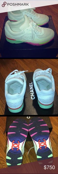 Chanel trainers This is a reposh. Authentic has been authenticated by posh and will be authenticated again when sold. Super cute comfy Chanel trainers as seen on Kylie Jenner. Off white shoe with multicolor bottom CHANEL Shoes Sneakers