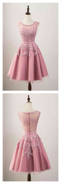 Sale Easy Homecoming Dresses A-Line, A-Line Crew Knee-Length Tulle Homecoming Dress With Appliques Beading Hoco Dresses, Trendy Dresses, Cute Dresses, Beautiful Dresses, Evening Dresses, Fashion Dresses, Homecoming Dresses Knee Length, Semi Formal Dresses For Teens, Dress Formal