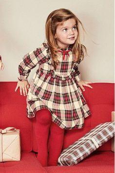 Red/Ecru Tartan Dress With Tights Smocked Baby Dresses, Little Girl Dresses, Girls Dresses, Girls Knitted Dress, Knit Baby Dress, Knitted Baby, Kids Christmas Outfits, Girls Christmas Dresses, Baby Girl Fashion
