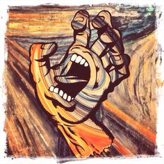 Knocked this up at lunchtime, 2 iconic works, Edvard Munch's Scream crossed with Jim Phillips Screaming Hand for Santa Cruz skateboards. $120 mill anyone?