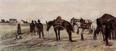 Horses and Farmers in Roman Landscape by Giovanni Fattori 1879