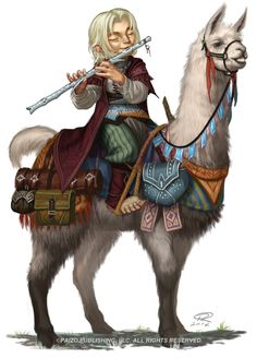 "m Halfling Bard Flute Lama mount Forgot to make a ""master post"" for bard week way back. Making the Bard Feel Important - A guide to making a support character feel like they belong in your campaign Musical Puzzles - Some examples of. Dungeons And Dragons Characters, Dnd Characters, Fantasy Characters, Alpacas, Dark Fantasy, Fantasy Rpg, Character Creation, Character Concept, Character Art"