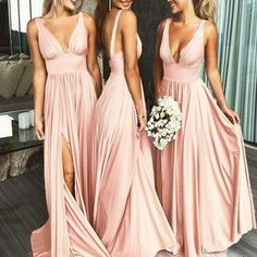 Sexy Deep V-Neck Sleeveless Blush Pink Long Bridesmaid Dresses Blush Bridesmaid Dresses, V-neck Bridesmaid Dresses, Pink Bridesmaid Dresses, Bridesmaid Dresses Sexy, Bridesmaid Dress Bridesmaid Dresses 2018 Wedding Evening Gown, Evening Gowns, Pink Bridesmaid Dresses Long, Wedding Dresses, Pink Bridesmaids, Bridesmaid Outfit, Bridal Gowns, Vestidos Sexy, Maid Of Honor