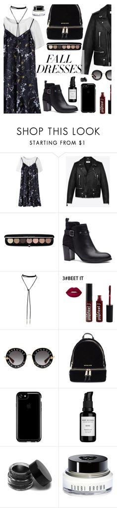 """""""Fall Fashion: Dresses"""" by dora04 ❤ liked on Polyvore featuring Yves Saint Laurent, Marc Jacobs, Tommy Hilfiger, Gucci, Michael Kors, Speck, Root Science and Bobbi Brown Cosmetics"""