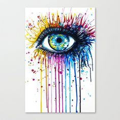 """Rainbow Eye"" Stretched Canvas by PeeGeeArts - $85.00; one day I will learn how to make something this cool."