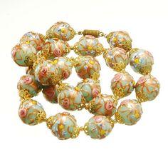 Vtg Murano Venetian Wedding Cake Glass Bead Necklace | eBay