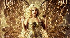 Blond tempting woman with the golden wings Golden Wings, Girl Wallpaper, Gold Fashion, Istanbul, Blond, Photo Editing, Strapless Dress, Royalty Free Stock Photos, Wonder Woman
