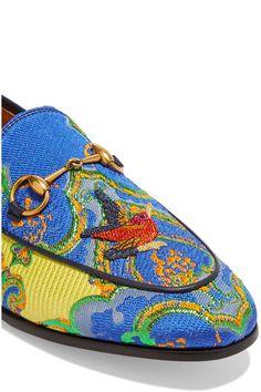 Gucci - Jordaan Horsebit-detailed Jacquard Loafers - Blue - IT37.5