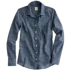 Perfect shirt in chambray polka dot ❤ liked on Polyvore