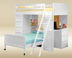 loft bed twin over twin, white - Google Search