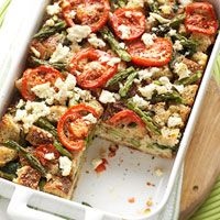 Tomato, Spinach, & Feta Strata  Calories: 247  Protein(gm): 18  Carbohydrate(gm): 27  Fat, total(gm): 9