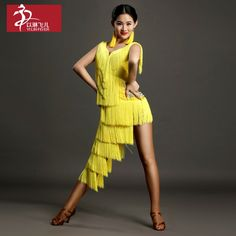127$  Watch more here - 2016 Latin Dance Costume Tassel Dress For Girl Yellow   #buychinaproducts