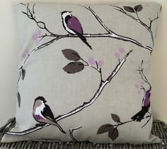 "Purple Bird Print Handmade Cushion 16"" x 16"" / 40.5 x 40.5 cm by LittlePeaHandmade on Etsy https://www.etsy.com/uk/listing/472412707/purple-bird-print-handmade-cushion-16-x"