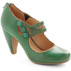 Miz Mooz Vintage Inspired Dance the Day Away Heel (170 AUD) ❤ liked on Polyvore featuring shoes, pumps, heels, green, modcloth, women's shoe, strap pumps, green pumps, embellished pumps and strappy heel shoes