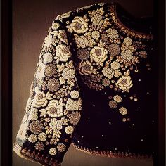 "Stunning #embroidered blouse from our #festive ""The Lakshmi Collection"".... #dhruvsingh #handmadeinindia #indian #vintage #black #ivory #gold #indiancouture #roses #handmade #instagram #instafashion #crafted #clothing"