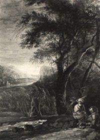 Hügelige Abendlandschaft by Salvator Rosa