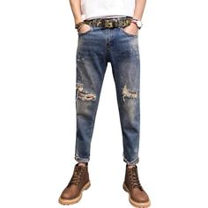 Fashion Comfortable Men Casual Loose Jeans Loose Jeans, Denim Jeans, Skinny Jeans, Stretch Denim, Men Casual, Clothes, Fashion, Outfits, Moda