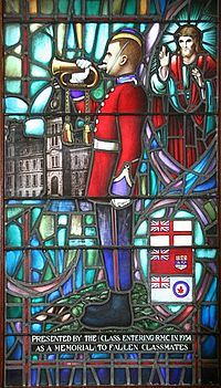 Memorial Stained Glass window, Class of 1934, Royal Military College of Canada showing Canadian Red Ensign