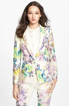 #RobertoCavalli #Floral Linen #Blazer available at #Nordstrom