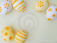 Photo about White and yellow easter eggs decorated by stripes dots and flowers on the white background. Image of traditional, yellow, tradition - 80166138 Easter Backgrounds, Coloring Easter Eggs, Egg Decorating, Dots, Stripes, Stock Photos, Yellow, Flowers, Stitches