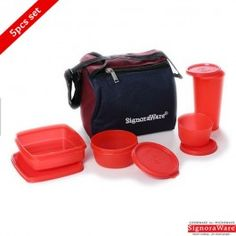 Signoraware Best Lunch Box With Insulated Bag, Red