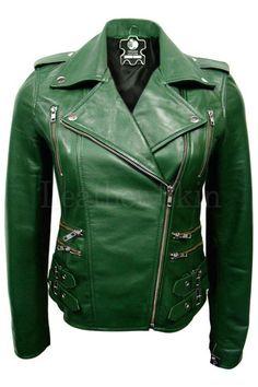 Leather Skin Women Green Brando Genuine Leather Jacket with Black Sleeves Green Leather Jackets, Lambskin Leather Jacket, Leather Skin, Soft Leather, Black Leather, Black Biker Jacket, Green Jacket, Blazer, Mantel