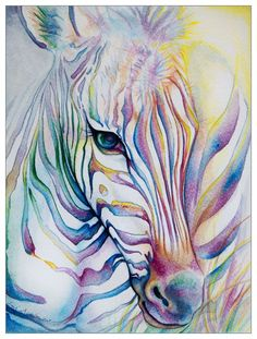 Rainbow Zebra by ladymeow (print image) Zebra Kunst, Zebra Art, Watercolor Animals, Watercolor Paintings, Watercolors, Watercolor Lesson, Watercolor Horse, Animal Paintings, Animal Drawings