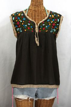 """Siren's """"La Marbrisa"""" Embroidered Sleeveless Mexican Blouse in Brown now available for summer!!"""