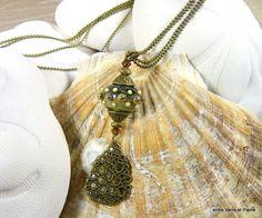 Léger sautoir d'automne perle au chalumeau à picots sur chaîne boule doublée finition bronze : Collier par fabienne-durelle
