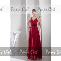 Robe de Bal Longue Couleur Rubis Glamour Dos nu en Organdi   Paris Ciel