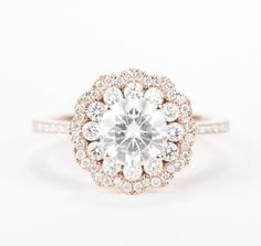 sale - CERTIFIED - colorless Forever ONE Round Brilliant Moissanite & Diamond Flower Halo Engagement Ring 14K Rose Gold
